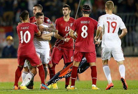 توقيف مباراة صربيا وألبانيا بعد شجار بين اللاعبين بسبب علم ألباني