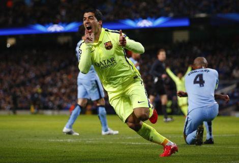 """سواريز يخرج من """"قوقعته"""" ويقود برشلونة للفوز على السيتي"""